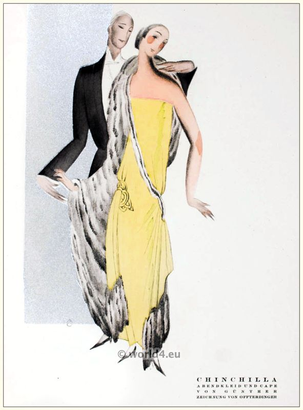 Art deco evening dress and chinchilla cape. STYL, Art Déco Fashion Magazine. Roaring twenties fashion. Gibson Girls clothing.