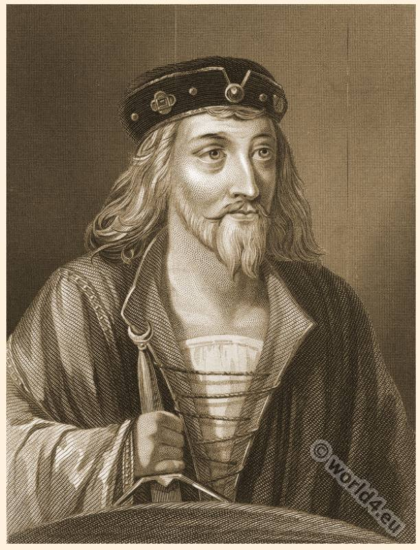 King James from England with sword. Portrait. Engraving. English Crown.