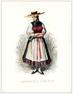 Peasant folk dress of the Black Forest. Traditional German national costume. Deutsche Trachten. Schwarzwald Dirndl.