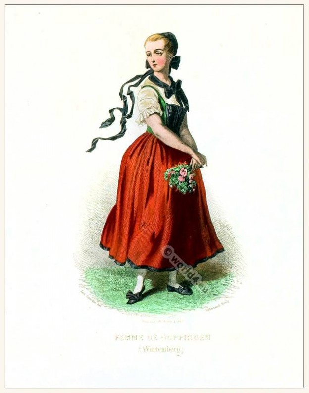 German Göppingen folk dress. Traditional German national costume. Deutsche Trachten. Baden-Württemberg Dirndl.