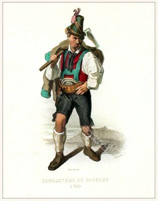 Raftsmen Bad Tölz, Bavarian folk dress. Original Country fashion from Bavaria. Deutsche Trachten. Altbayerische Tracht Flösser.