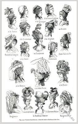 Hairstyles France 18th century. Marie Antoinette. French rococo fashion.
