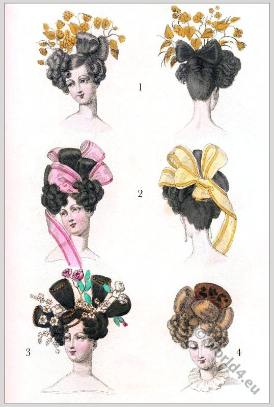 Modes Parisiennes Coiffure. Biedermeier Fashion. Empire hairstyles. Regency modes.