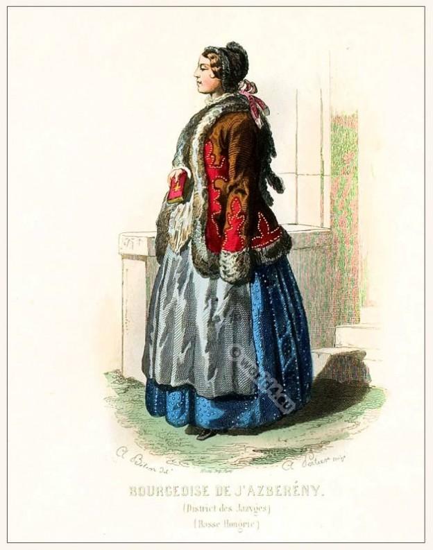 Bourgeoise Jászsági viselet clothing. Traditional Hungary costume. Hungarian Folkdress