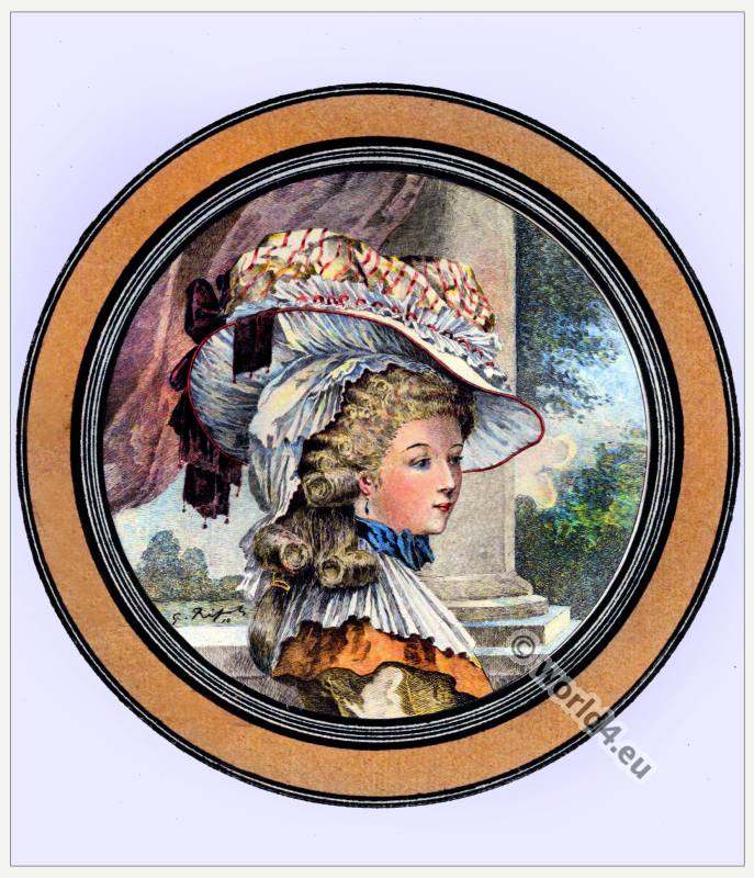 Queen Marie Antoinette. France Hat styles. French Rococo Costumes. Rose Bertin. Minister of Fashion at the Court of Versailles