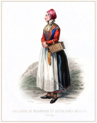 Norwegian folk dress. Traditional Norway National costume.