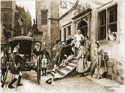The Arrest of Voltaire. Rococo costumes. Author of the French and European Enlightenment. French philosopher