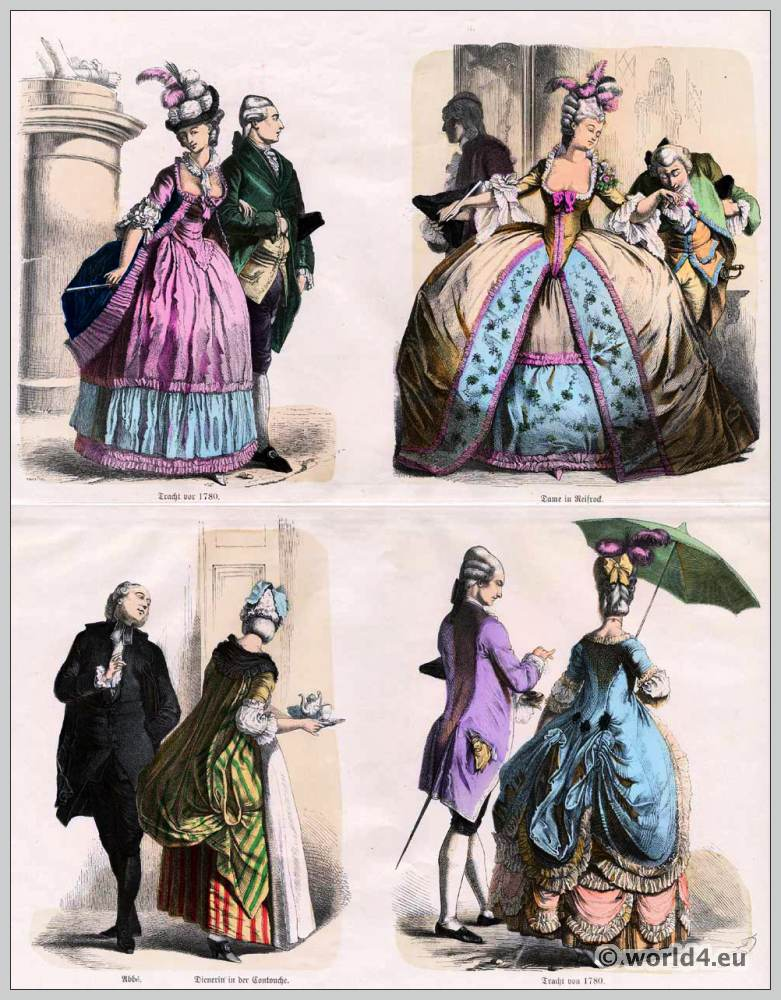 French and German fashion of nobility. Baroque Rococo era costumes. Münchener Bilderbogen