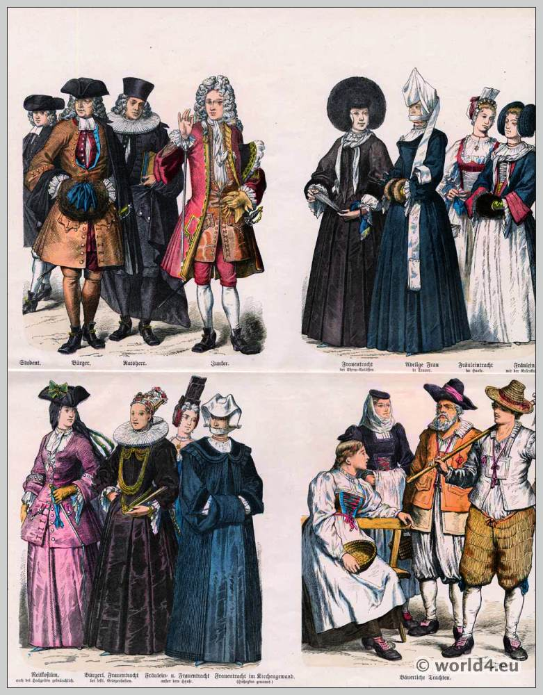 Swiss costumes. Canton of Zurich. 18th Century clothing. Student, Citizen, Alderman and Junker dresses. Nobles, mourning clothes, riding habit. Church clothes.