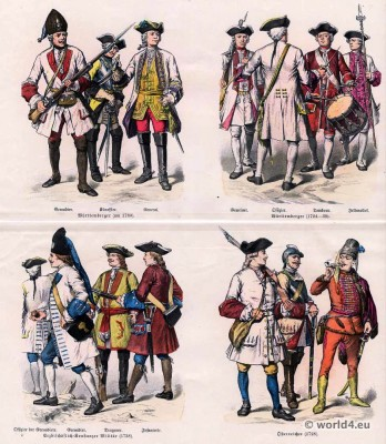 German and Austrian military uniforms in the 18th century.