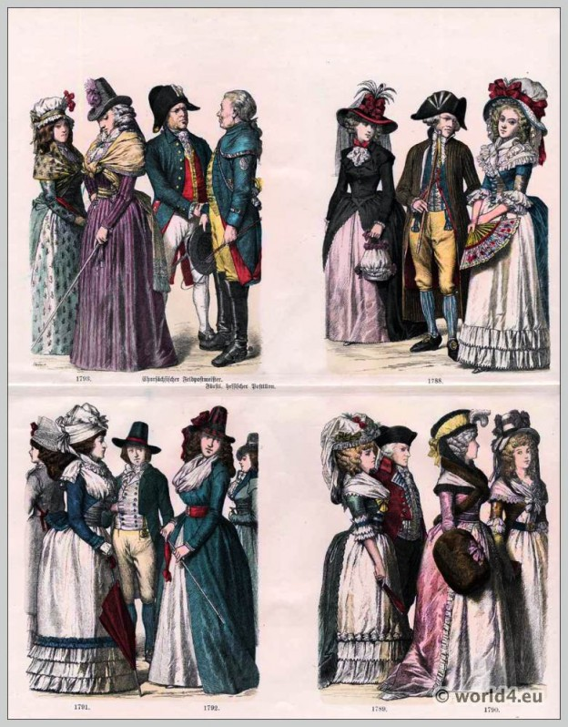 The Georgian Era. German fashion in the 18th century. Women's fashion. Costumes of Chur Saxon field postmaster. Princely Hessian postilion.