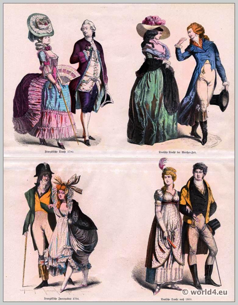 French Revolution fashion. Incroyables and Merveilleuses. German Biedermeier fashion.