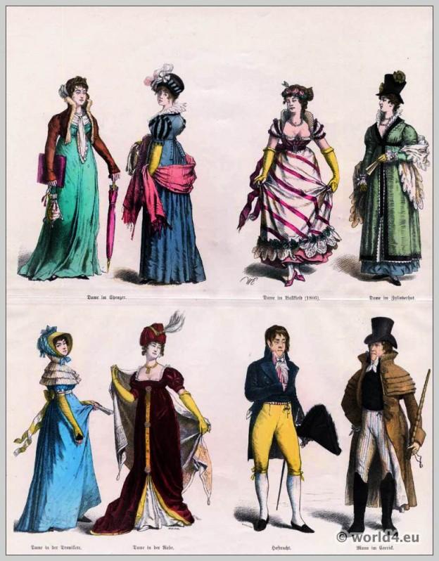 Biedermeier, Spencer, Carrick, coat, Germany, fashion, gown, cylinder, hat.