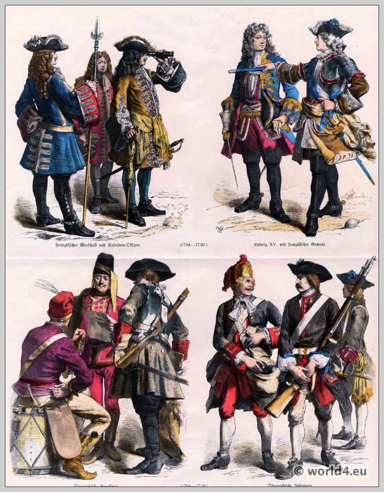 Military uniforms 18th century. Marshal of France and subaltern officer. King Louis XV. and French general. Austrian infantry and Cavalry costumes.