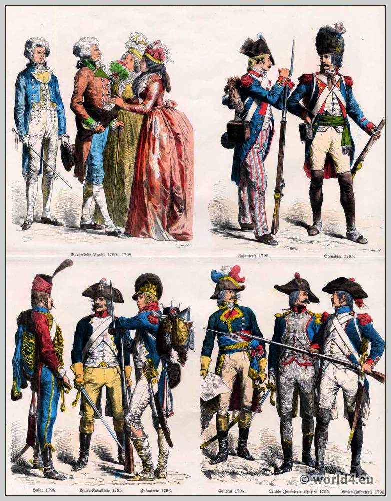 French Republic costumes. French Civil dress. French Infantry. Grenadier. Hussar. Lines Cavalry. Army general. Light Infantry Officer. Lines Infantry.
