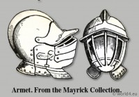 Armet. From the Mayrick Collection. Helmet 15th century. Medieval weapon. Middle ages knight armor. Dictionary of Dress