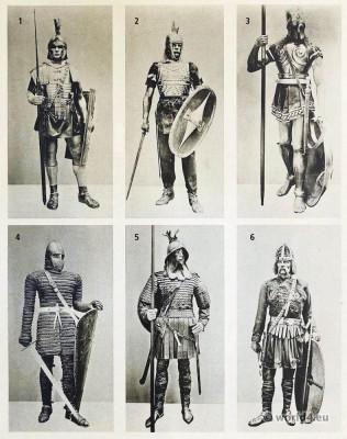 Ancient warriors. Roman legionary, Gallic warrior, Greek Hoplite Warrior, Carolingian Frankish knights. Merovingian warriors, Carl Gimbel