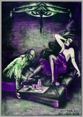 Bachelor costume. Art Deco fashion. Opium smoker. Roaring Twenties. Der Junggeselle