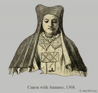 Canon with Aumuse. Medieval clothing. Middle ages hood dresses. Monks habit, Pontifical habit