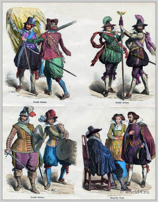 Medieval German soldiers uniforms. Baroque costumes 17th century. Civic German costumes.