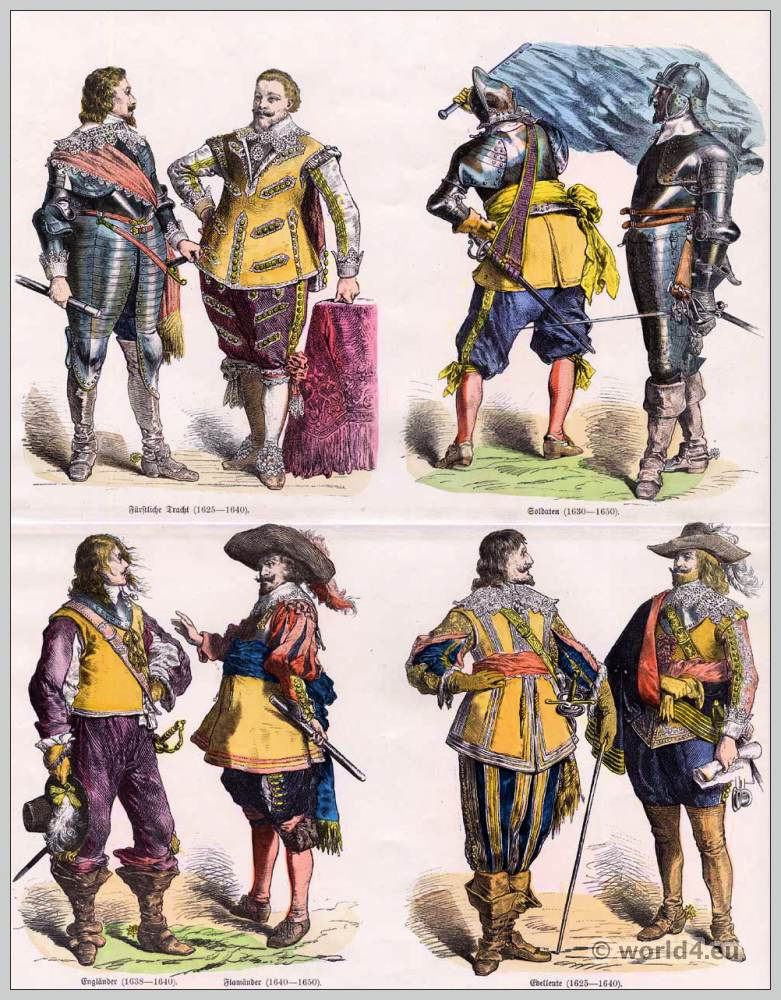 German nobles. 17th Century baroque costumes. German soldiers uniforms. Fleming Princely Costumes