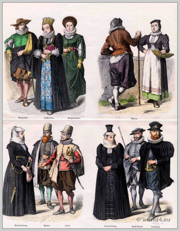 Swiss costumes 17th century. Baroque clothing. Switzerland Citizen girl dress. Swiss peasant costumes.