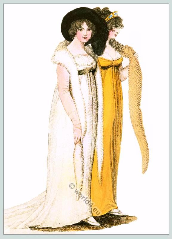 Empire costumes. Regency clothes. Georgian dress.