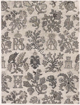 Spanish brocade. Fabric 16th Century. Renaissance era.