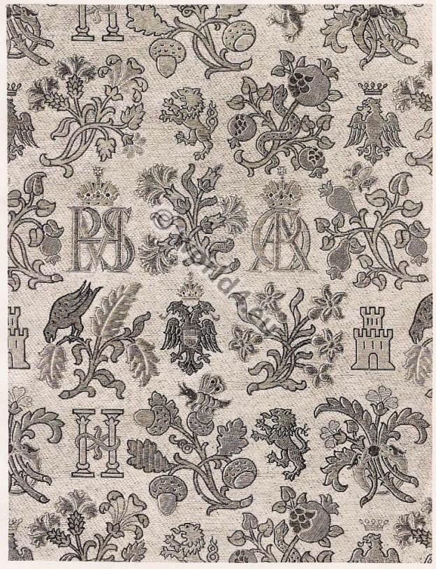 Spanish brocade fabric 16th Century. Renaissance fabrics design.