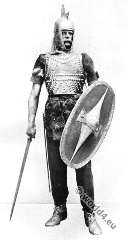 Gallic Warrior. Medieval knight with weapons, shield, sword and armor.