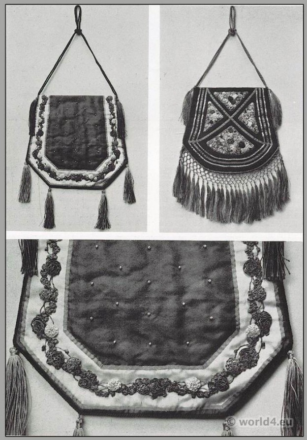 Art nouveau handbag design by Anna Somoff-Mikhailoff. Belle Époque fashion. Edwardian era.