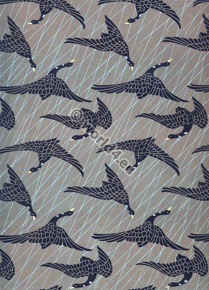 Modern Japan fabric design, Flying geese. Traditional Textil ornament