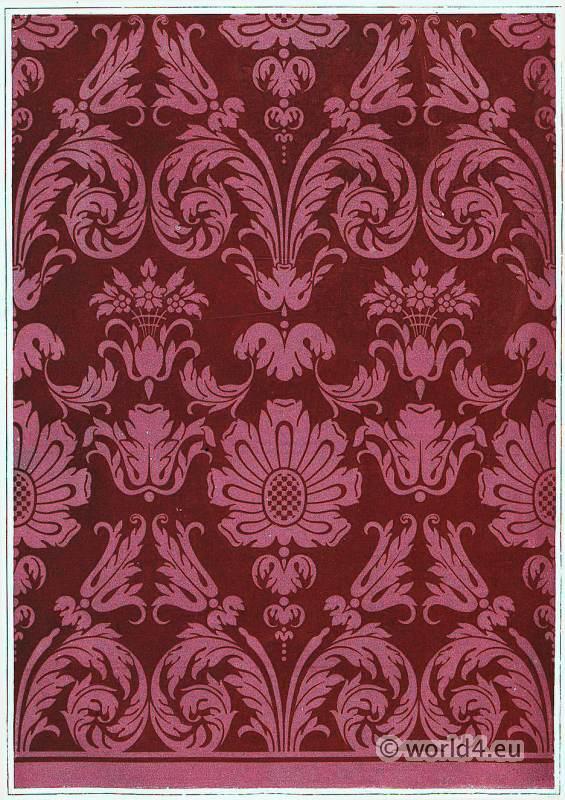 French baroque fabric textile design. Alcove, Hotel Soubise Paris. 17th century.