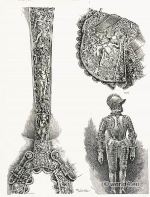 16th Century. German blackened steel armor. Renaissance era weapons.