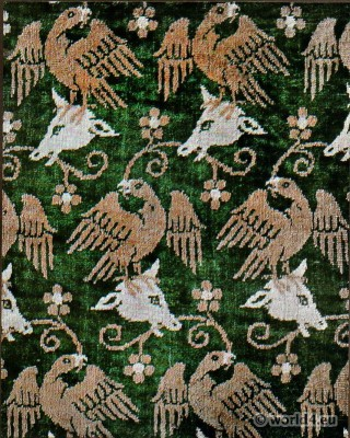 Persian silk velvet. Persian medieval fabrics. Oriental Textil design middle ages