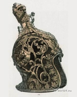 XVII Century Helmet. Venetian manufactures. Defensive weapons. Armor Baroque Soldier.