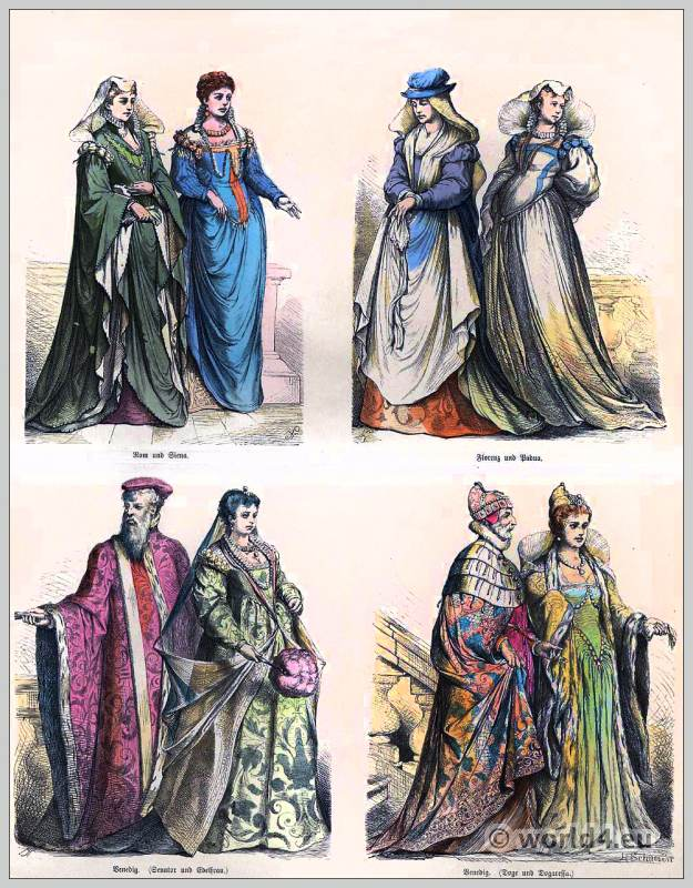 Italian Renaissance fashion. 16th century costumes. Medieval clothing. Middle ages dresses. Münchener Bilderbogen
