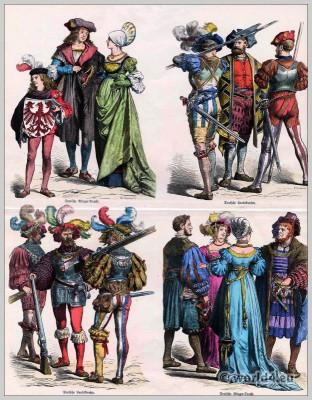 Lansquenet, mercenaries, Renaissance, Germany, costumes, 16th century, citizen, Münchener Bilderbogen, Fashion history