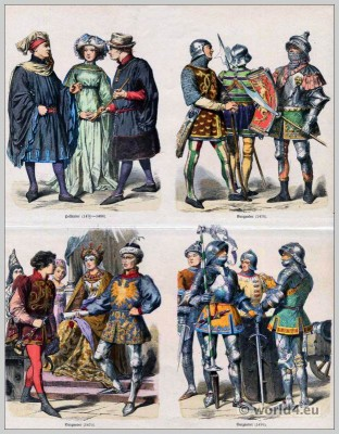 Armed Burgundian knights in armor. Dutch citizens costumes. Gothic clothing. Medieval dresses.