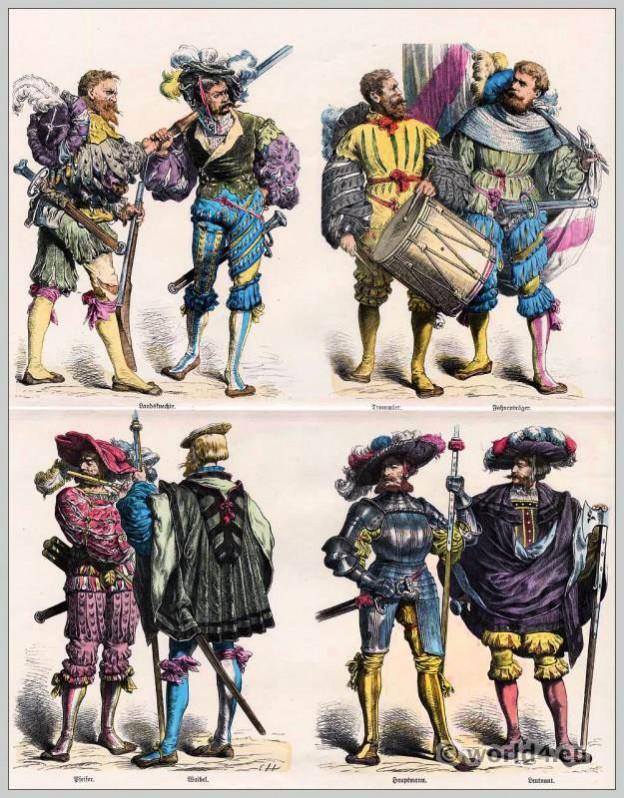 German, lansquenets, Military, Renaissance, costumes,