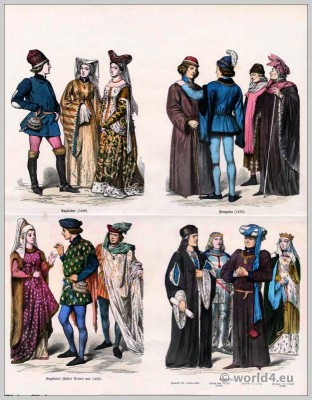 English and French burgundy fashion in the 15th Century. Gothic dresses. Medieval costumes. Middle ages clothing
