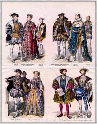 16th century french clothing. Renaissance costumes. French nobility costumes.