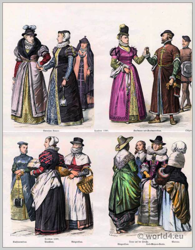 English Baroque fashion in the 16th and 17th Century. Spanish court dress. Medieval clothing. Renaissance costumes.