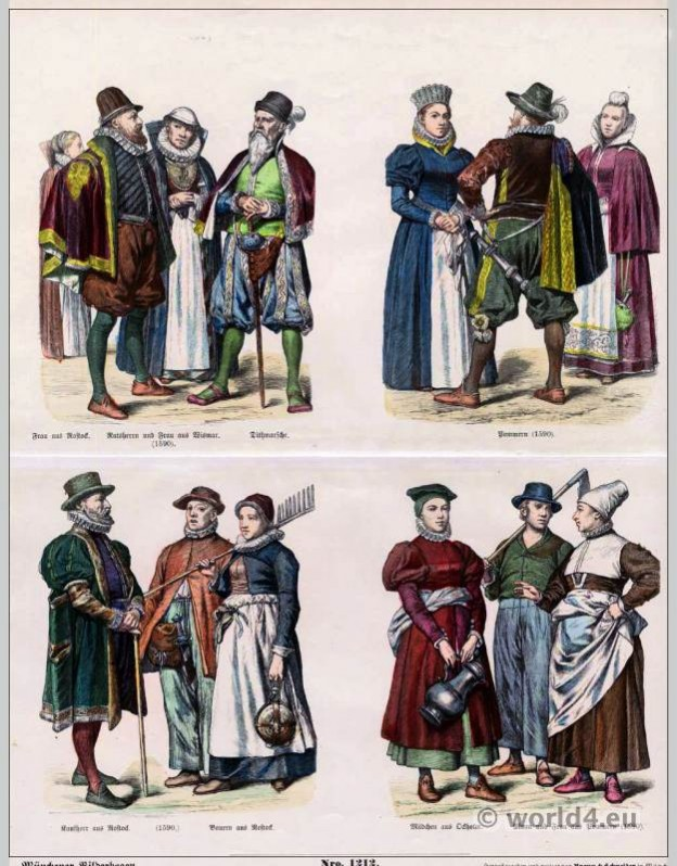 German renaissance costumes 16th Century. Medieval clothing. Middle ages dresses.