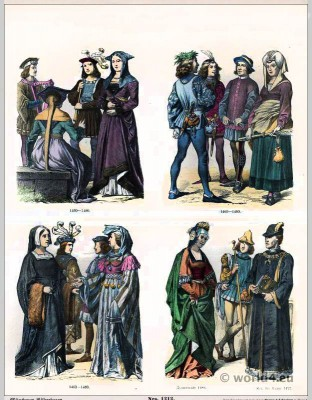 French medieval costumes. 15th Century. Renaissance fashion. Medieval clothing. Middle ages dresses.