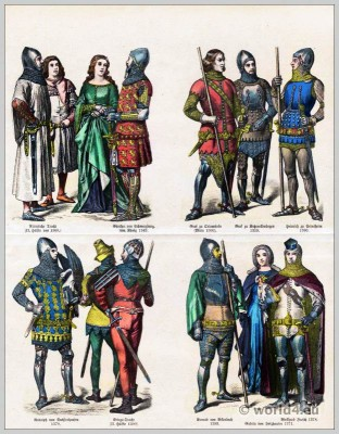 German Medieval costumes 14th Century. Medieval clothing. Middle ages dresses. Gothic fashion. Knights armor.