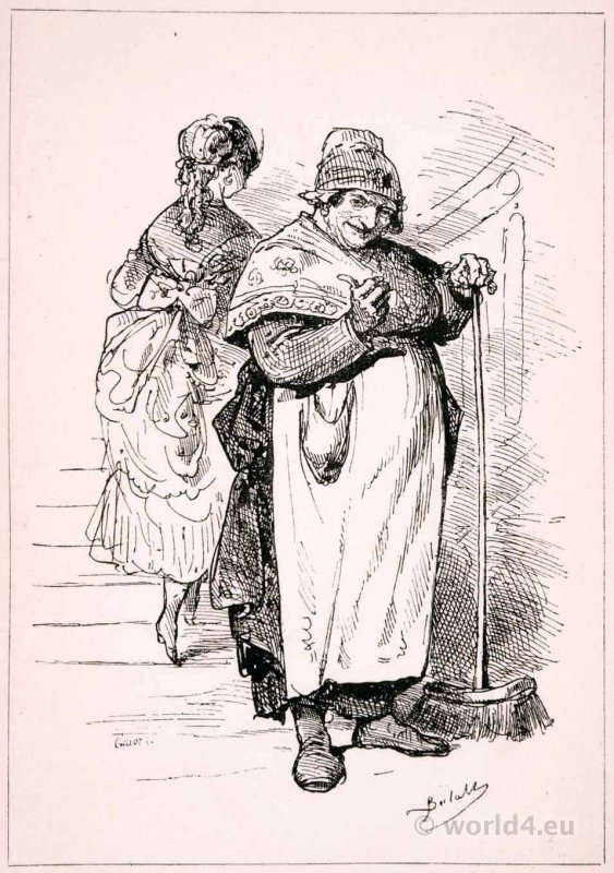 Parisian portrait. Madame la Concierge. French national costume.