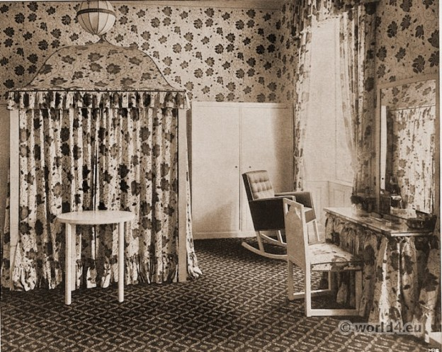 Sleeping and dressing room. Vienna Workshop. Josef Hoffmann. Austrian architect and designer. Vienna Secession.