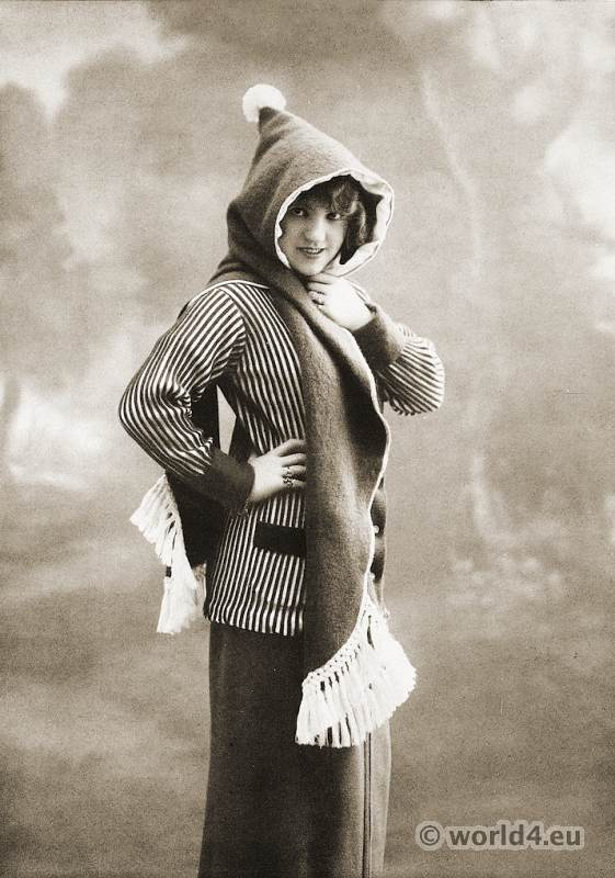 Knitted sports jacket with hood scarf. Women fashion 1913.