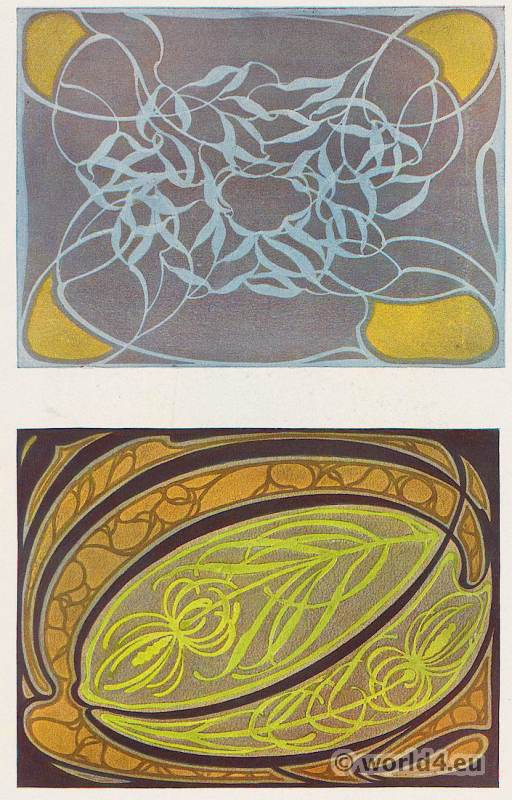 German Designer Paul Lang. Art Nouveau fabric design for sofa cushions. Textil patterns.